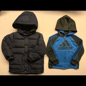 Gap Kids Jacket/Adidas Boys Fleece Hoodie 4T Lot 2